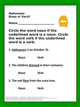 Halloween Language Arts Nouns or Verbs Task Cards