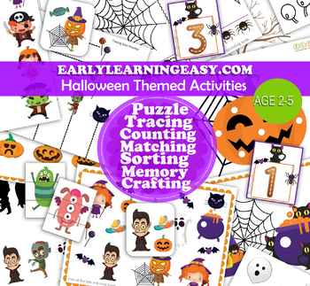 Halloween Activities Printable Set for Toddlers