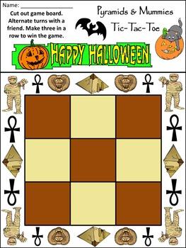 Halloween Activities: Pyramids & Mummies Halloween Tic-Tac-Toe Game