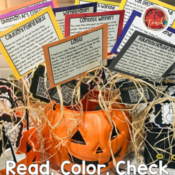 Halloween Activities:  Read, Color and Check