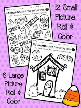Halloween Activities Roll and Color Pack