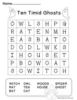 Halloween Activities: Ten Timid Ghosts Book Companion