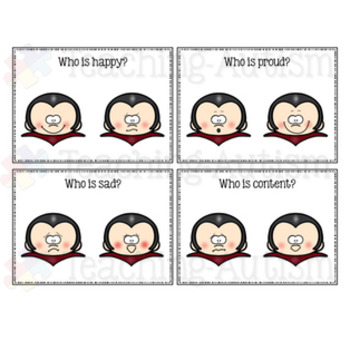 Feelings and Emotions Halloween Task Cards Vampire