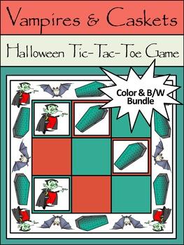 Halloween Activities:Vampires & Caskets Tic-Tac-Toe Halloween Game Bundle