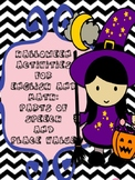 Halloween Activities for English and Math: parts of speech