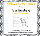 Halloween Activities for Fast Finishers en français!