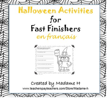 Halloween Activities for Fast Finishers en français!