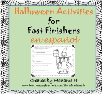 Halloween Activities for Fast Finishers in Spanish!