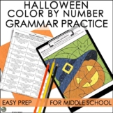 Halloween Activities for Middle School Color By Number Grammar Practice