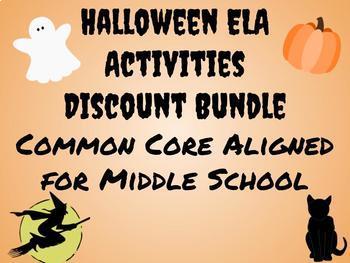 Halloween Activities for Middle School Discount Bundle! Common Core Aligned