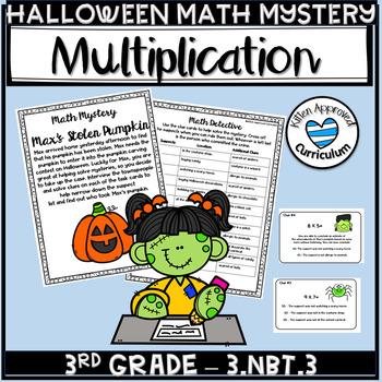 Halloween Activities for Third Grade - 3.NBT.3 Task Cards