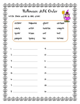 Halloween Activities - syllables, ABC order, making words, and more!