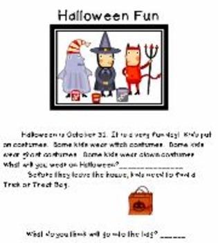 Halloween Activity Center for Emergent Readers