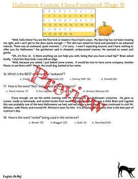 Halloween Activity, Context Clues, Solve & Decode