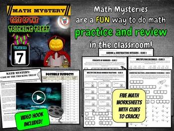 7th Grade Halloween Activity : Halloween Math Mystery -Tricking Treat