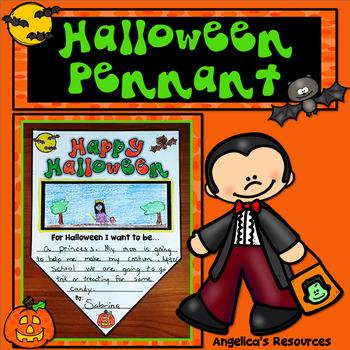 Halloween Activity : Halloween Summary Pennants - Writing Craftivity