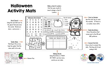 Halloween Activity Mat - A Page FULL Of Fun Halloween Activities!