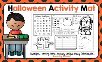 Halloween Activity Mat - A Page FULL Of Fun Halloween Activities!