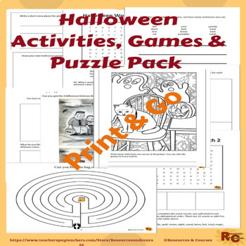 Halloween Activities Printable Fun 1st-3rd Graders