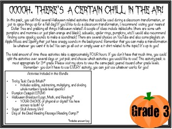 Halloween Activity Pack- Grade 3 (Includes math, reading, art, STEM, & breakout)
