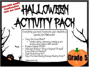 Halloween Activity Pack- Grade 5 (Includes math, reading, art, STEM, & breakout)
