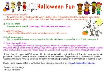 Halloween Activity Packet * Worksheets * Crossword * Word Search * ABC Order