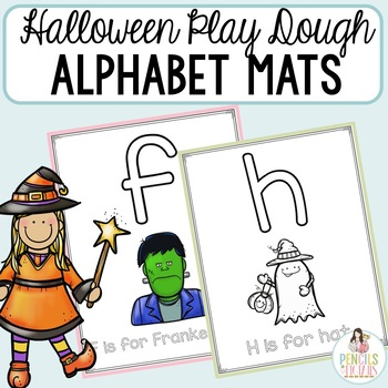 Halloween Activity - Play Dough Mats - Letter Formation and Alphabet Recognition