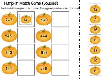 Halloween Activity: Pumpkin Match Addition and Subtraction