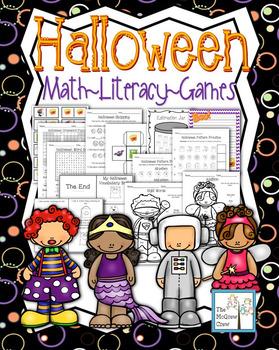 Halloween Activity Set K-1 Math Literacy Games Puzzles Writing