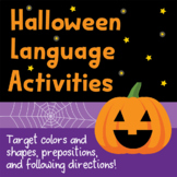 Halloween Activity for Prepositions, Two-Step Directions, and Color & Shapes!