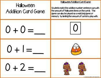 Halloween Add & Subtract 0-10 Number Sentence Match