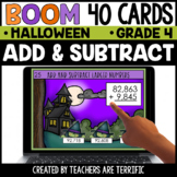 Halloween Add & Subtract Grade 4 Boom Cards | Distance Learning