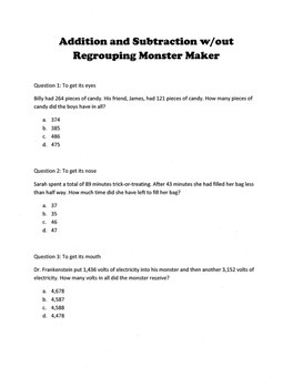 Halloween Add & Subtract w/out Regrouping Word Problems: Monster Maker Activity