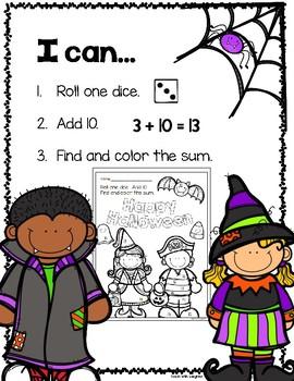 Halloween Adding 10 Math Station