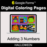 Halloween: Adding 3 Numbers - Google Forms | Digital Color