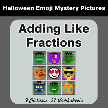 Halloween: Adding Like Fractions - Color-By-Number Math Mystery Pictures