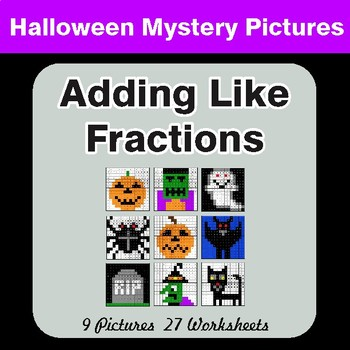 Halloween: Adding Like Fractions - Color By Number Math Mystery Pictures
