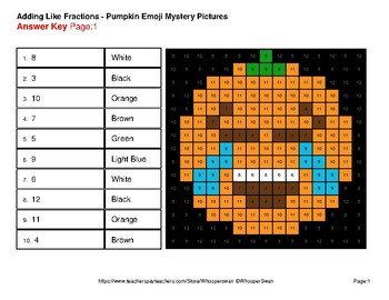 Halloween: Adding Like Fractions - Color-By-Number Mystery Pictures