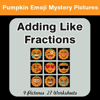 Adding Like Fractions - Halloween Math Mystery Pictures | Color-By-Number