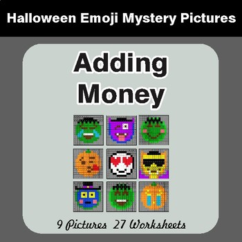 Halloween: Adding Money - Color-By-Number Math Mystery Pictures