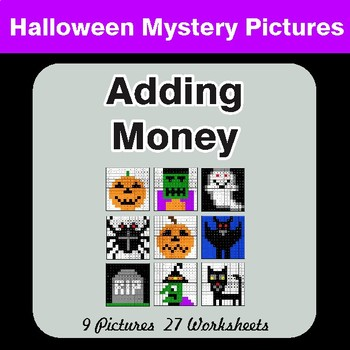 Halloween:  Adding Money - Color-By-Number Mystery Pictures