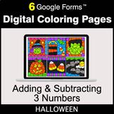 Halloween: Adding & Subtracting 3 Numbers - Digital Colori