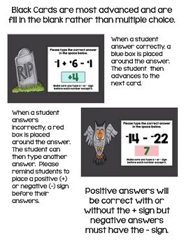 Halloween Math - Adding & Subtracting Integers Digital Task Cards - BOOM Cards