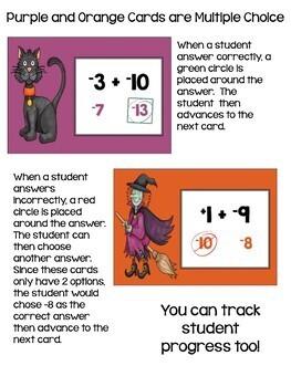 Halloween Math Adding & Subtracting Integers Digital Task Cards BOOM Cards