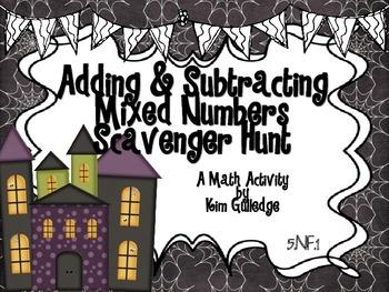 Halloween Adding & Subtracting Fractions - 5.NF.1 Scavenger Hunt