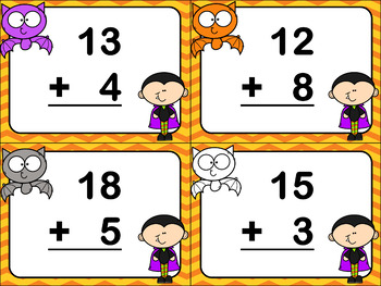Halloween Adding Task Cards 2-Digit by 1-Digit Numbers to 100
