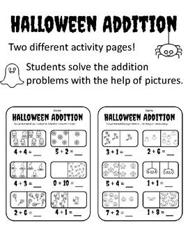 Halloween Adding With Pictures Halloween Kindergarten Addition Halloween 1-10 Ad