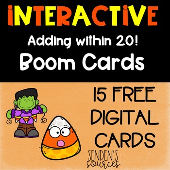 Halloween Adding Within 20 Digital Boom Task Cards