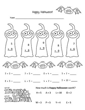 Halloween Activities first and second grade - Addition