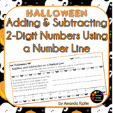Halloween Adding and Subtracting 2-Digit Numbers on a Number Line